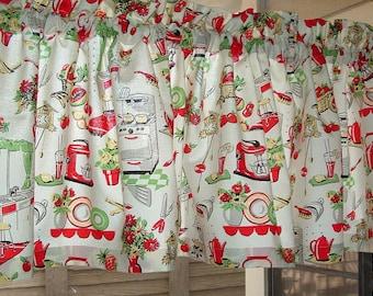 "RETRO Kitchen STOVE PRINT  Valance or Panel Cotton  Window treatment 12"" 14"" 18"" 24"" 32"" Long, Custom"