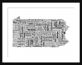 Pennsylvania Map Typography Map Poster Print