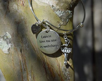 Dance Like No One Is Watching Expandable Bangle Charm Bracelet