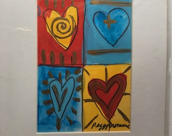 4 colored hearts original watercolor by. Ortherdt female artist Peggy Jomura. on colorful grid pattern