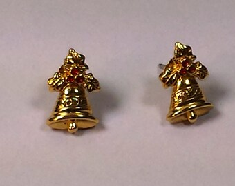 Vintage Gold Tone Christmas Bell  with Red Holly Berries Pierced Earrings