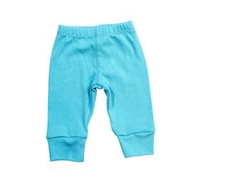 Aqua Baby Pants. Baby Boy Pants. Knit Leggings. Aqua Blue New Baby Clothes.  Baby Girl aqua pants. Newborn pants. Blue Pants.