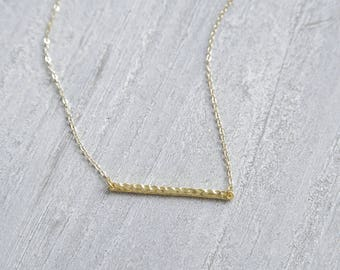 Minimalist Gold Necklace, Gold Bar Necklace, Hammered Bar Necklace, Geometric Necklace, Gold Geometric Bar Pendant, Boho Chic Jewelry, Gift
