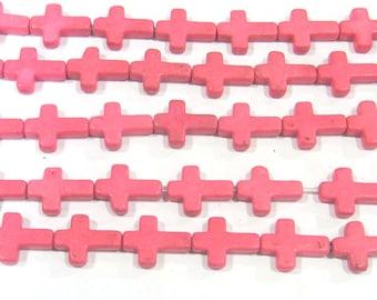 12x16mm Cross Pink Magnestite Bead Semiprecious Gemstone Bead Strand Wholesale Beads 4970  - 15''L Jewelry Supply Wholesale Beads