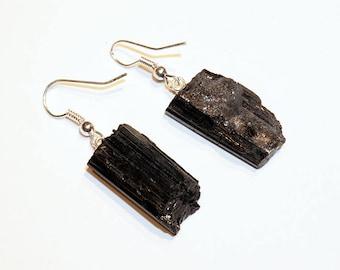 Rough Black Tourmaline Earrings w/ Silver Plated Earwire (ER36BT)