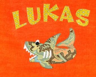 Personalized Large Orange Velour Beach Towel with Shark, Pool Towel, Camp Towel, Kids Bath Towel, Baby Towel, Bridal Party Gift, Bath Towel