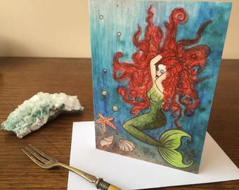Greeting Card - Mermaid Blank Inside Birthday Under the Sea Seaside the Little Red Hair Blue Original Fantasy Art Shell Starfish Swimming Be