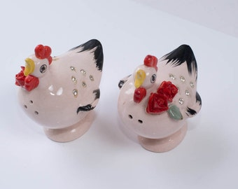 Pink Salt and Pepper Shakers, Pink Chickens with Rhinestones
