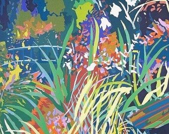 Boat and Bridge at Giverny by Peter Welton | A Signed, Limited Edition, Mounted, Lino Cut Poster Print (2 of 30) - Size: 70x100cm