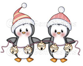 Digi Stamp 'Jingle Penguins' . Makes Cute Christmas Cards.