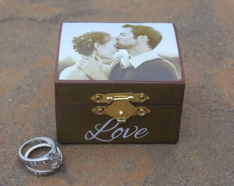 Ring Bearer Box, Custom Photo Engagement Ring Keepsake Box, Unique Marriage Proposal Box, LOVE, Personalized Valentine's Day Photo Gift
