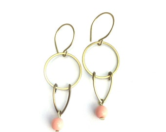 Raw brass circles with vintage bead drop
