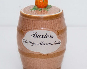 Baxters vintage marmalade pot jar with lid Clovercraft Made in England