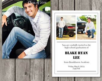 Boy Graduation Announcement Template - Senior Guy Graduation Announcement Card - GA10
