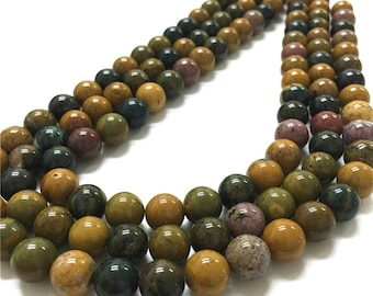 10mm Ocean Jasper Beads, Round Gemstone Beads, Wholesale Beads