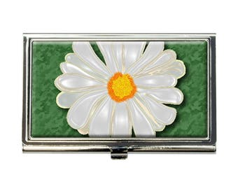 Daisy Flower On Green Business Credit Card Holder Case