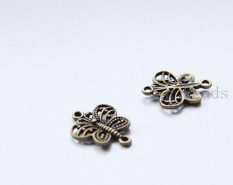 30pcs Antique Brass Tone Base Metal Pendant-Butterfly 27x14mm (16924Y-G-326)