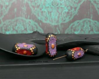 Red Purple Black Polka Dot Bohemian Polymer Oval Bead - Handcrafted Bead - 17x7mm - Pkg. 4