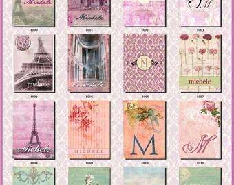 Laminated Luggage Tag | Personalized Bag Tag | Paris Luggage Tag | Shabby Chic Tag | Monogrammed Tag | Paris Bag Tag | Custom Bag Tag
