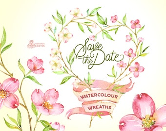 Save the Date. 5 Watercolor Wreaths, flowers clipart, dogwood, wedding invitation, greeting card, diy clip art, floral, botanical, banner