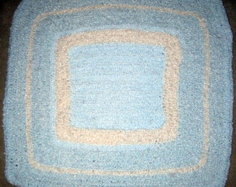 Baby Blue & White Square  - Hand Made Crocheted Afghan - BRAND NEW