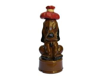 French Vintage Ceramic Dog Decanter Bottle. Spaniel Figurine Liquor Bottle.