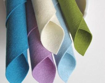 100% Wool, Felt Fabric Set, Cool Watercolors, Pastel Assortment, Lilac, Aquamarine, Avocado Green, Ecru, Ocean Blue, Felt Pattern Supply