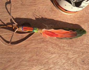 Peyote beaded parrot feather hat feather