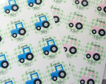 Gender Reveal Stickers Baby Boy Baby Girl Team Boy Team Girl Tractors Pink Tractor Blue Tractor Gender Party