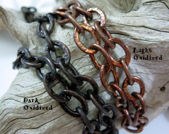 Copper Large Link Chain, 9.5mm x 12.5mm Links, Oxidized, Bulk Chain, 6 to 36 Inches