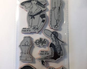 """Rubber Stamps, Graphic 45, """"Couture Collection"""", """"Couture 2"""", New, Eight Stamps,Destash."""