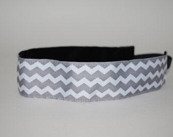 SALE- 33% REDUCED Steel Gray Chevron Headband- Sport Headband- 1.5 inch headband- Gray- Chevron- White- nonslip- no slip headband
