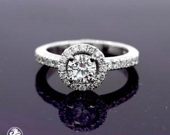 Engagement Ring, 14 Karat Diamond Ring, White Gold Engagement Ring, Engagement Ring W/Diamond Halo, Diamond Halo Engagement Ring | LDR02637