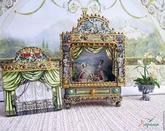 Puppet theater for Dollhouse. Dolls house miniature toy theatre. Paper theater. Handcrafted miniature. For doll House. 1:12 Scale