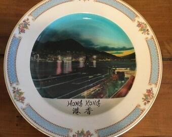 Vintage Hong Kong Plate , Hong Kong Decorative Plate , Double Phoenix , Nikko - Ironstone Plate, Hong Kong Cityscape Art