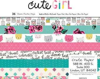 Crate Paper Cute Girl 6x6 Paper Pad  -- MSRP 6.00