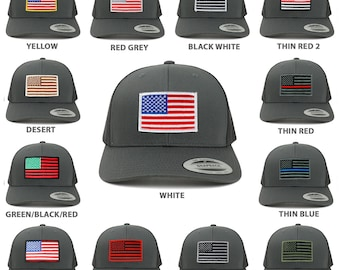 American Flag Patch Snapback Trucker Mesh Cap - Charcoal (6606-CHA)