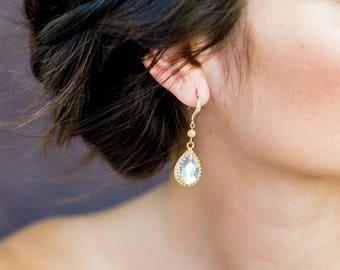 Gold Crystal Teardrop Modern Bridal Earrings, Rose Gold Rhinestone Wedding Earrings, Silver Bridal Earrings, CZ Pear Crystal Earrings ELEENA