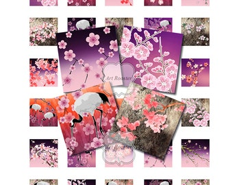 1x1 inch Printable Japanese Images ASIAN INSPIRED Square Pendant Bezel Digital Collage Sheets Floral Printable Spring Printable Clipart
