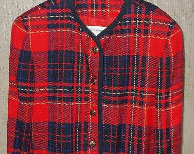 Vintage 90s Womens Liz Claiborne Petites Red Plaid Wool Blend Long Sleeve Blazer Jacket 12