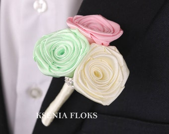 Wedding Groom Boutonniere, Mens Boutonnieres, Pink Green and Ivory Boutonniere, Fabric Flower Boutonniere, Mens boutonniere, Groomsmen Pin