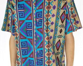 Vintage 1980s Southwestern Printed Short Sleeve Button-Up / Size (L/XL)