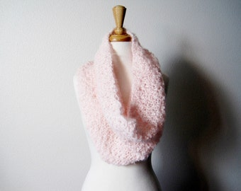 Hand Knit Cloud Cowl Scarf in Sugar Pink - Women's Fashion Knit Accessories