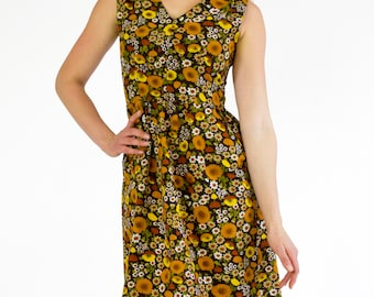 Vintage 1960s Dress Sleeveless V-Neck Fit Flare Empire Waist Pocket Midi Brown Yellow Earthy Floral Print Spring Summer Handmade Size Medium