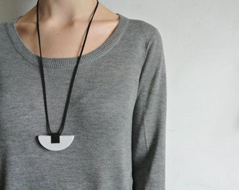 Concrete jewelry Gray jewelry Half Moon Necklace Semi Circle Necklace Minimalist Jewelry Modern necklace gift