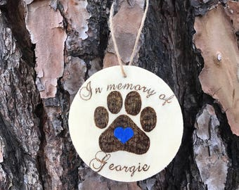 Wooden ornament, In memory of pet ornament, custom cat ornament, custom dog ornament, pet memorial, memorial keepsake, pet rememberance