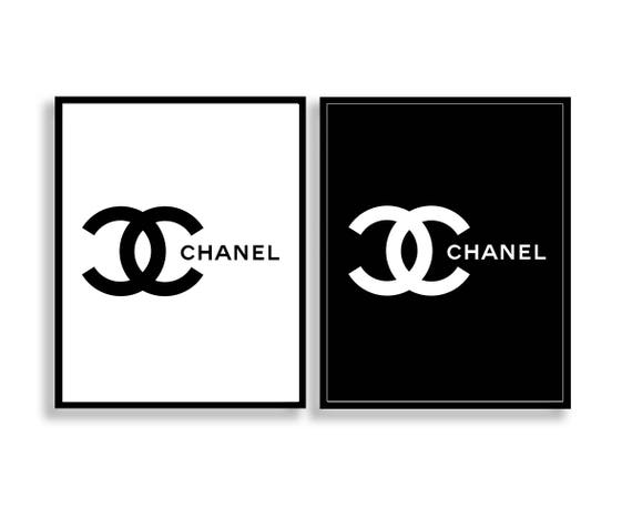 chanel logo print set coco chanel logo print set chanel logo. Black Bedroom Furniture Sets. Home Design Ideas