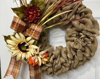 Fall Wreath,Burlap Wreath,Autumn Wreath,Harvest Wreath,Home Decor,Wall Decor,Home and Living