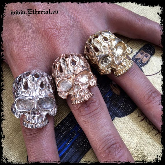 Etherial Jewelry - Rock Chic Talisman Luxury Biker Custom Handmade Artisan Pure Sterling Silver .925 Handcrafted Badass Skull Designer Ring