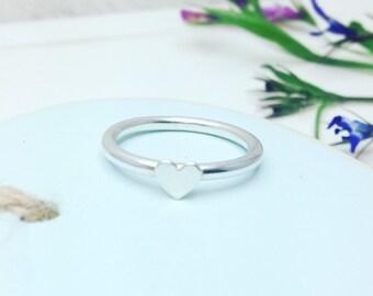 Heart Ring, Silver Heart Ring, Tiny Heart Stacking Ring, Silver Heart Ring, Tiny Heart Ring, Heart Stacking Ring, Heart Ring, Ring Stack